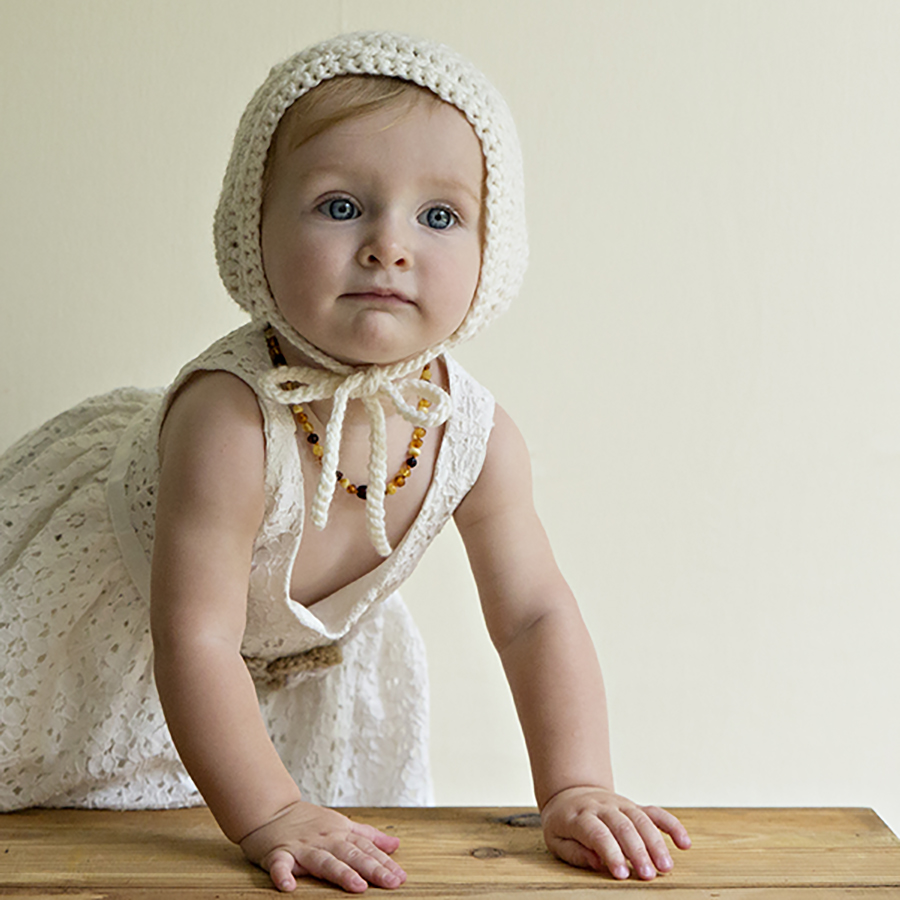 Cute vintage style bonnet for babies first year shot