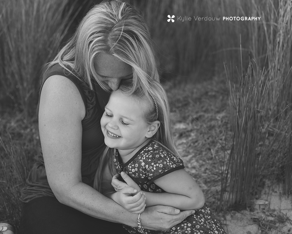 Lifestyle mum and her daughter Mills beach