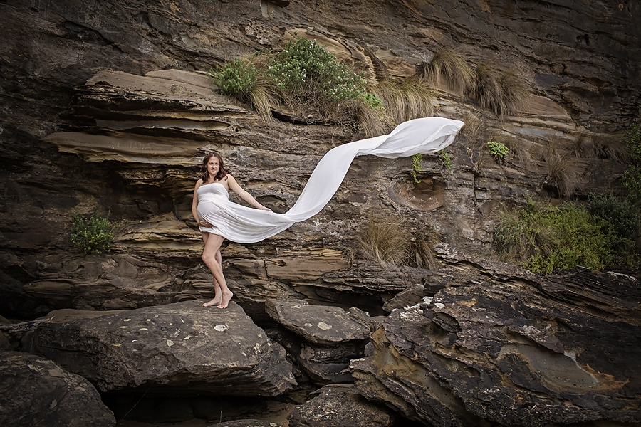 flowing white fabric maternity shot