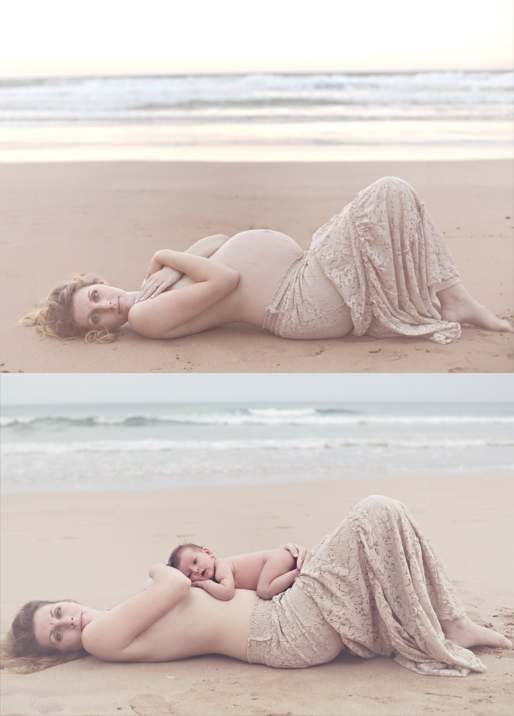 Before and after maternity session